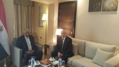 جانب من لقاء رئيسي البرلمان الليبي و المصري